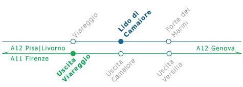 Immagine mappa autostradale - Hotel Sirio 3 stelle a Lido di Camaiore, Versilia, Toscana