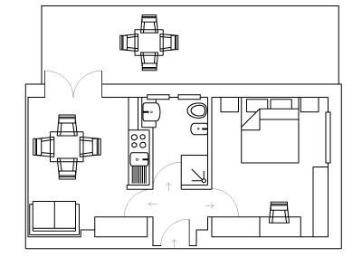Immagine planimetria appartamento bilocale residence comfort - Hotel Sirio a Lido di Camaiore in Versilia, Toscana