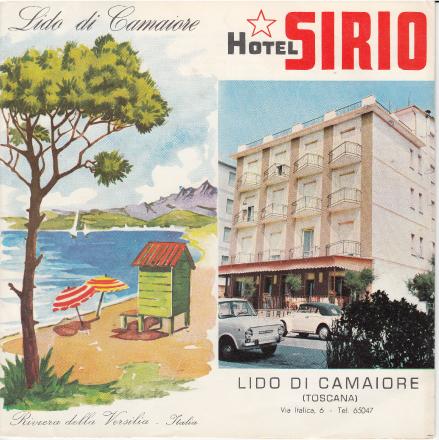 Immagine della prima brochure dei primi anni 70 di Hotel Sirio a Lido di Camaiore, Versilia, Toscana